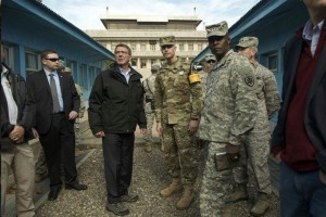 Secretary of Defense Carter visits U.S. military personnel in South Korea.