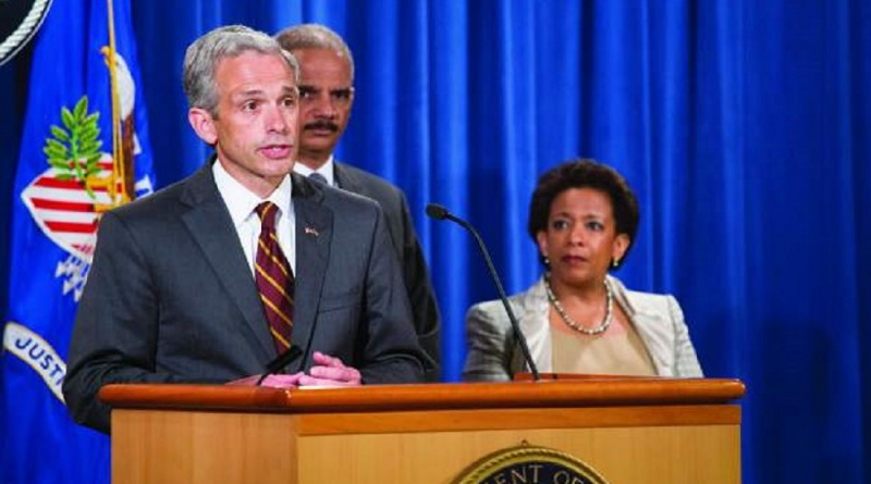 Left to right: John Walsh, Eric Holder, Loretta Lynch. Under their direction the Justice Department deteriorated into an attack dog for the DNC and Obama.