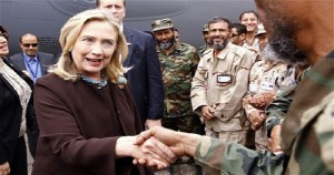 Hillary Clinton meeting with Libyan rebels in 2011, some of whom turned out to be Islamic terrorists.