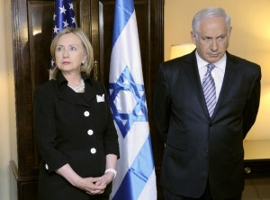 Hillary Clinton and Israeli Prime Minister Benjamin Netanyahu. Clinton is accused of leaking secret Israeli war plans to news reporters.