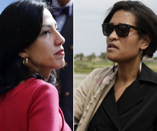 Huma Abedin (left) and Cheryl Mills are Hillary Clinton's top aides. Huma actually worked for the State Dept. and the Clinton Foundation at the same time.