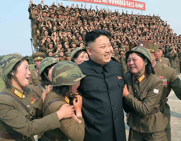 Probably staged display of adulation for North Korea's dictator Kim Jung-Un
