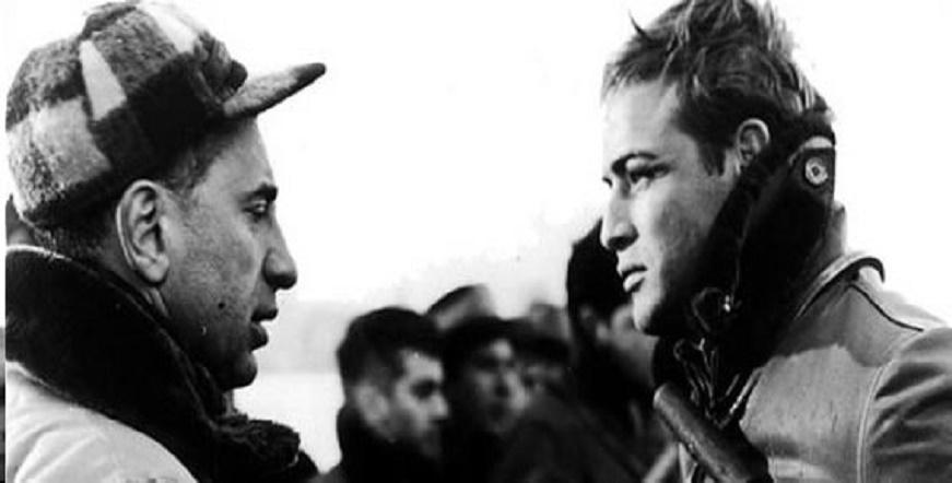 "Marlon Brando and Director Elia Kazan on the set of ""On the Waterfront."""