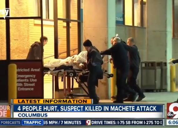 Victim of Somali attacker is rushed into the hospital Emergency Department.
