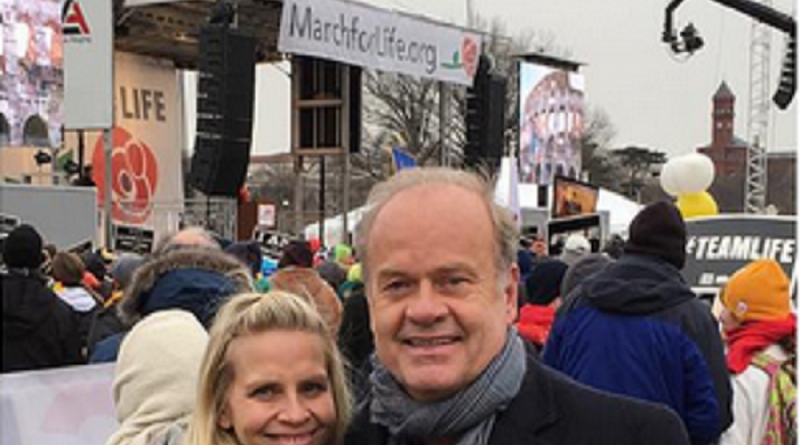 Mr. and Mrs. Kelsey Grammer attending a Pro-Life Rally to show their support for opponents of Planned Parenthood.