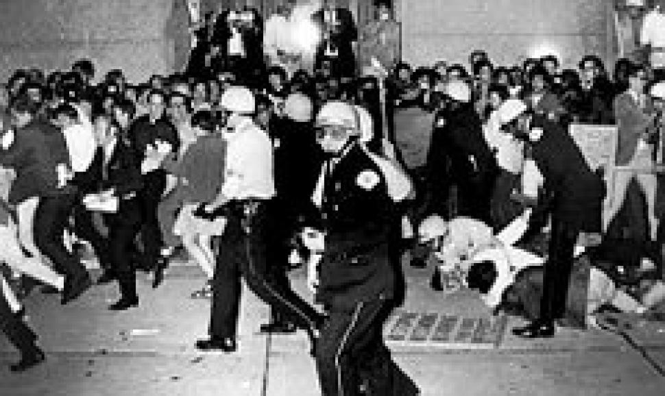 democratic national convention 1968 In this aug 26, 1968 file photo, chicago police officers confront a demonstrator on the ground at grant park in chicago during the city's hosting of the democratic national convention (ap .