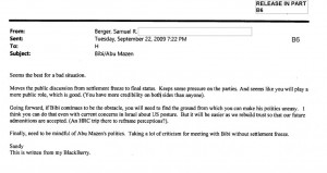 One of the Berger emails to Hillary Clinton regarding Israel and Prime Minister Netanyahu.