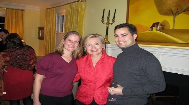 Hillary shown with Brian Pagliano and his wife. Pagliano made an immunity deal with FBI to talk about Hillary's personal email server that he installed.