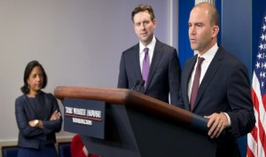 Three of Obama's biggest liars give a deceitful briefing to a deceitful press corps.
