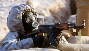ISIS fighter wearing protective gear during an alleged chemical weapons simulation.