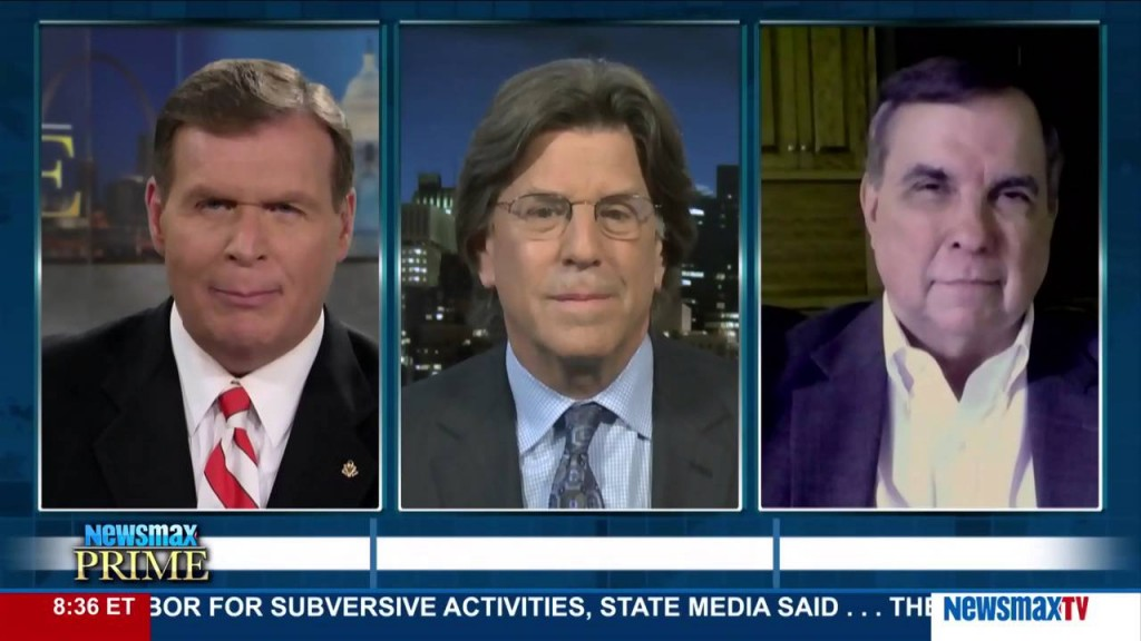 Marc Rotterman (right) appears on Newsmax Prime with J.D. Hayworth, a former GOP congressman from Arizona.