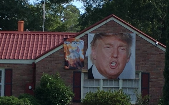 South Carolinian homeowner shows his support for Donald Trump and disdain for Hillary Clinton.