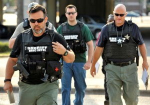 Police officers responding to the Orlando terrorism massacre.
