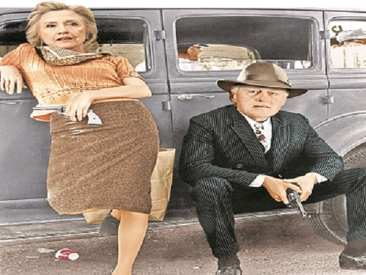 Image result for photos of Hillary and Bill Clinton like bonnie and clyde