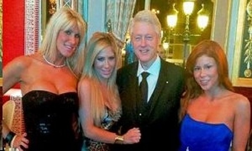 "Bill Clinton and his entourage allegedly visiting Jeffrey Epstein's ""Sin Island."""