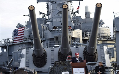Republican presidential candidate Donald Trump speaks aboard the World War II Battleship USS Iowa