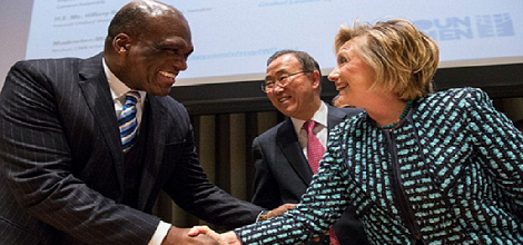 UN President John Ashe and former Secretary of State Hillary Clinton.