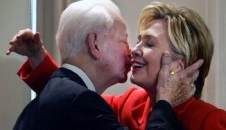 Hillary Clinton and former KKK Grand Kleagle Democratic icon  Robert Byrd of West Virginia.
