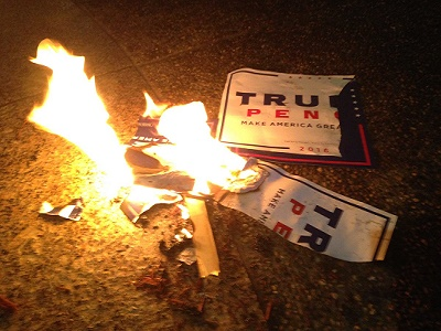 The news media avoids showing Democrats burning flags and displaying disorderly conduct.