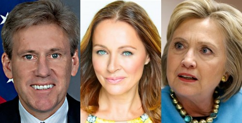 Amb. Chris Stevens, actress/model Lydie Denier and presidential wannabe Hillary Clinton.