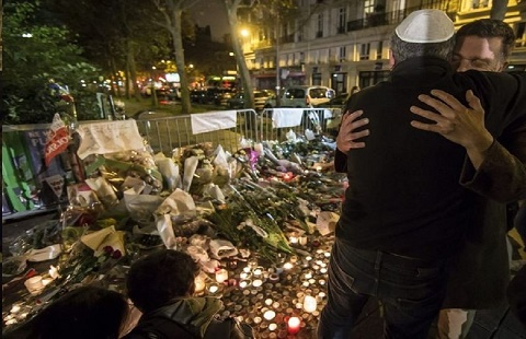 A makeshift memorial created following a deadly Islamic terrorist attack in Paris, France.
