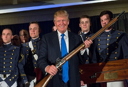 Donald Trump was presented with a Civil War musket by cadets at the U.S. Military Academy at West Point.