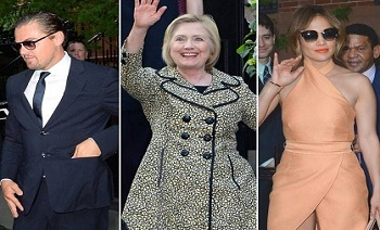 Hillary Clinton fundraiser in the Hamptons brought out the Hollywood crowd including Leonardo DiCaprio and Jennifer Lopez.