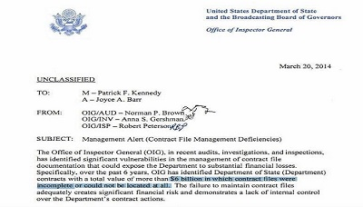 One of the documents leaked by Assange regarding Hillary Clinton's State Department.