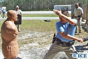 Police officer training to use unarmed combat training to control an uncooperative illegal alien.