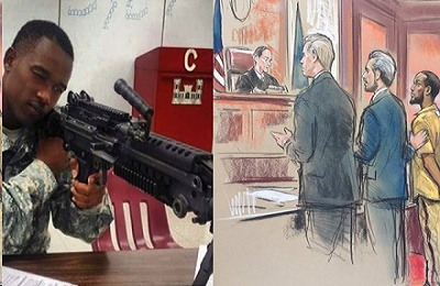 Mohamed Bailor Jalloh training with the National Guard and entering his guilty plea before the judge.