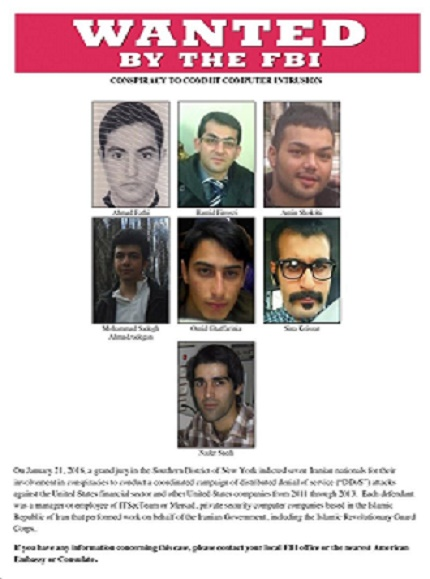 Iranian operatives being hunted by the FBI in the United States.