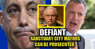 Two of the most far-left mayors -- New York's De Blasio (right) and Chicago's Rahm Emanuel -- may be targeted by the Justice Department.