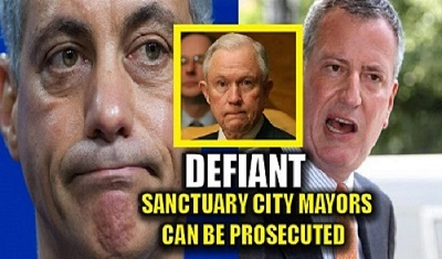 Photograph: (Left-to-right) Chicago Mayor Rahm Emanuel, Attorney General Jeff Sessions, New York Mayor Bill de Blasio.