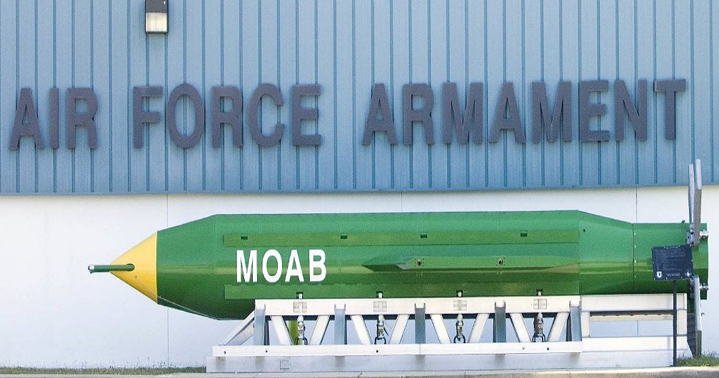 This May 2004 photo shows a GBU-43B, or massive ordnance air blast (MOAB) weapon, on display at the Air Force Armament Museum on Eglin Air Force Base near Valparaiso, Fla. U.S. forces in Afghanistan struck an Islamic State tunnel complex in eastern Afghanistan on Thursday, April 13, 2017, with a GBU-43B, the largest non-nuclear weapon ever used in combat by the U.S. military, Pentagon officials said. (Northwest Florida Daily News via AP)