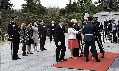 Vice President Mike Pence and his wife, Karen, place a wreath at the Seoul National Cemetery in South Korea, April 16, 2017, during his first trip to Asia as vice president. Army photo by Sgt. 1st Class Sean K. Harp
