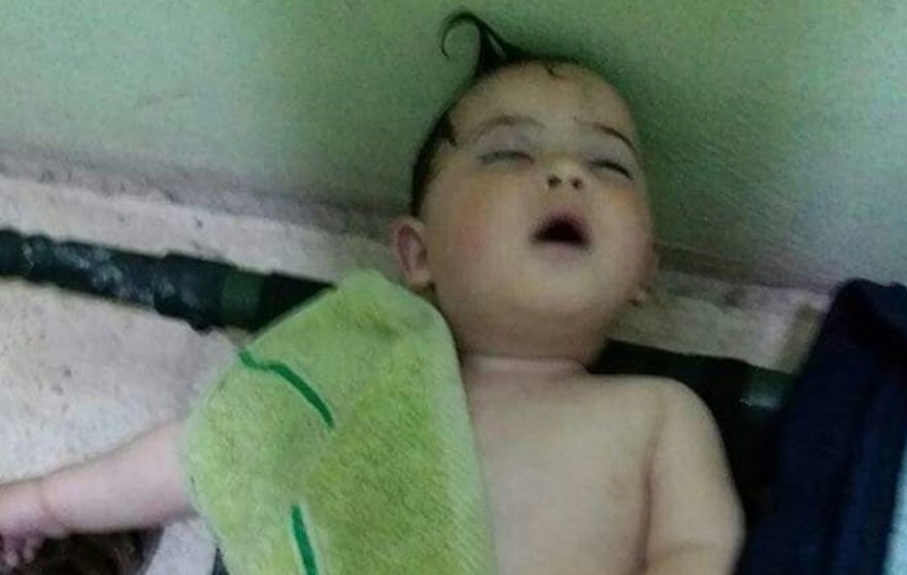 Syrian infant killed during an alleged chemical weapons attack by the Assad regime.