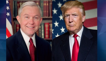 """Attorney General Jeff Sessions (left) and President Donald Trump appear to be """"on the same page"""" regarding border security and immigration enforcement."""