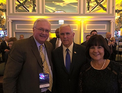 Van Hipp (left) with Vice President Mike Pence and his wife, Karen.