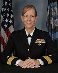 Rear Admiral Ann Burkhardt holds a Bachelor of Science in Mathematics from Jacksonville University, Jacksonville, Florida; a Master of Science in Administration from Central Michigan University and is certified as a senior professional in Human Resources. She completed the Naval War College Fleet Seminar Program (JPME I), the Joint and Combined Warfighting School (JPME II) and is designated as a joint qualified officer. As a Navy Human Resources officer her assignments have been in the areas of training and education, personnel management and manpower. Burkhardt began her career as an instructor teaching math, reactor principles and physics, later becoming a master training specialist at Naval Nuclear Power School, Orlando, Florida.