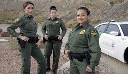 Female agents patrol the U.S. border with Mexico.