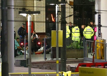 First responders set up a number of areas to triage victims of the terrorist bombing.