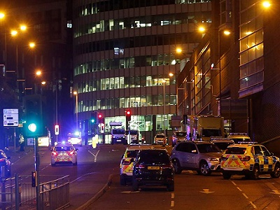 Police cordoned-off access and exit points surrounding the arena