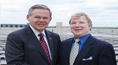 U.S. Sen. Bob Menendez (D-NJ) with his strategist James Devine. Menendez is being investigated on corruption charges.