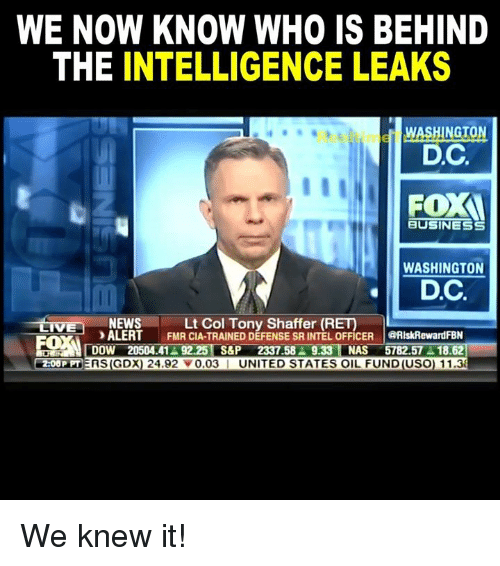Lt. Col. Anthony Shaffer (US Army-Ret.) believes intelligence leaks are politically-motivated.