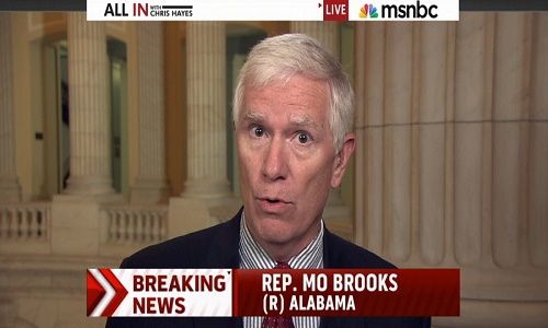 Mo Brooks claims he's all in for Trump. He calls Majority Leader McConnell the King of the Swamp.