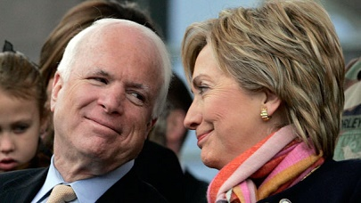 McCain and Hillary Clinton sharing a moment during her campaign against Trump.