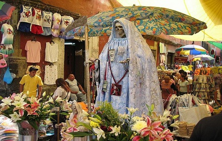 La Santa Muerte icon in a marketplace in Mexico City.